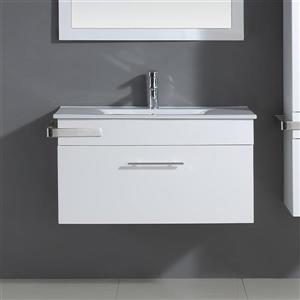 Meuble-lavabo mural blanc, Maxen, 35''