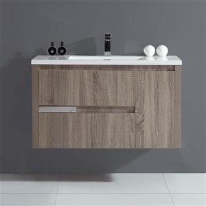 Meuble de salle de bain taupe, Davidci, 40''