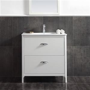 Meuble-lavabo blanc avec dessus Scarlett , 32''