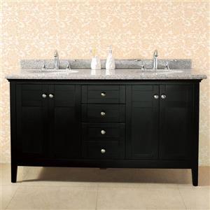 Meuble-lavabo Reni avec comptoir de granit, expresso, 60''