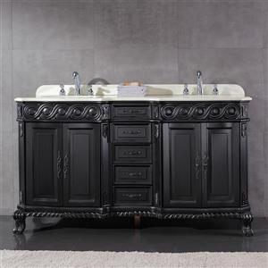Trent Antique Black Vanity with Marble Top - 60''