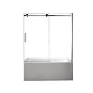 Park Clear Glass Chrome Hardware Tub Door - 60''