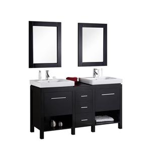 New York Double Vanity with Matching Mirror - 60