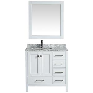 "Meuble-lavabo avec miroir London, 36"", blanc"