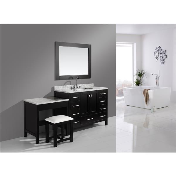 """Meuble-lavabo avec table et miroir London, 78"""", espresso"""