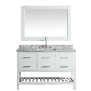 "Meuble-lavabo avec miroir London, 54"", blanc"