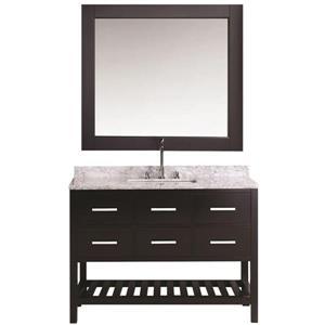 """Meuble-lavabo avec miroir London, 54"""", espresso"""