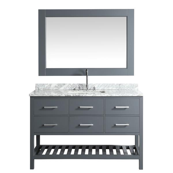 """Meuble-lavabo avec miroir London, 54"""", gris"""