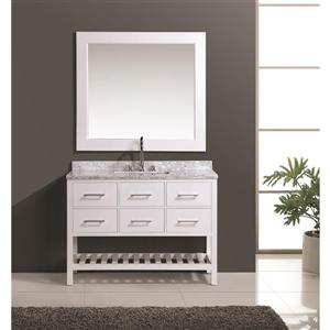 "Meuble-lavabo avec miroir London, 48"", blanc"