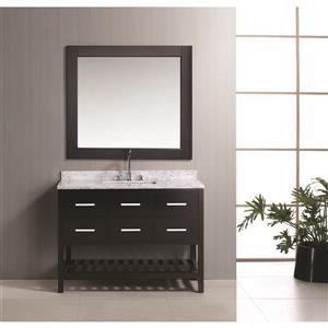"""Meuble-lavabo avec miroir London, 48"""", espresso"""