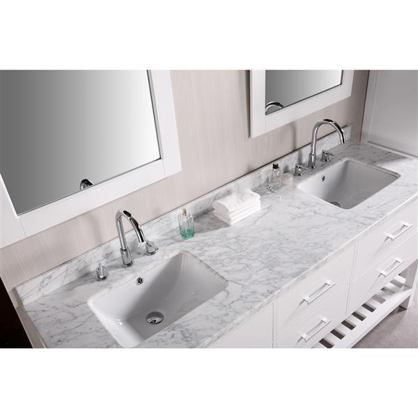 "Meuble-lavabo double avec miroir London, 72"", blanc"