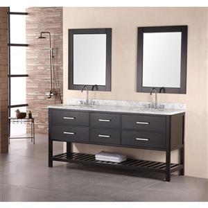 """Meuble-lavabo double avec miroir London, 72"""", espresso"""