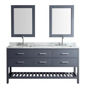 """Meuble-lavabo double avec miroir London, 72"""", gris"""