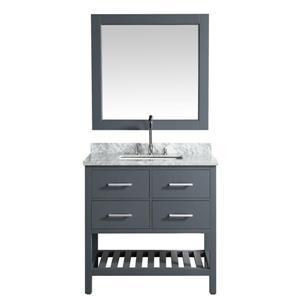 """Meuble-lavabo avec miroir London, 36"""", gris"""