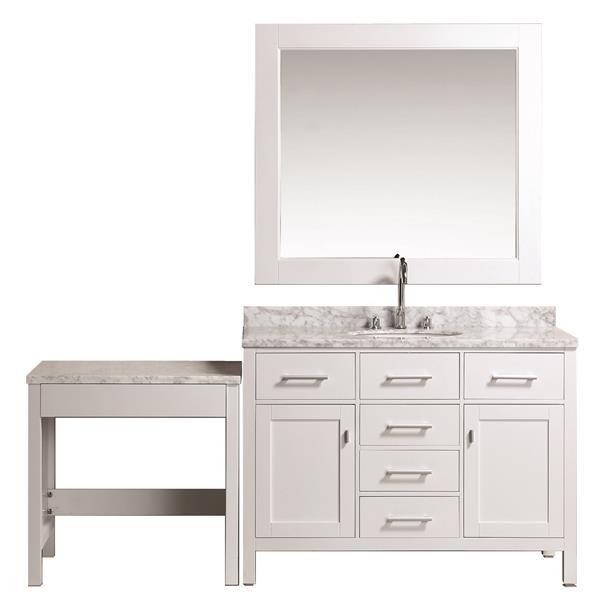 "Meuble-lavabo avec table et miroir London, 78"", blanc"
