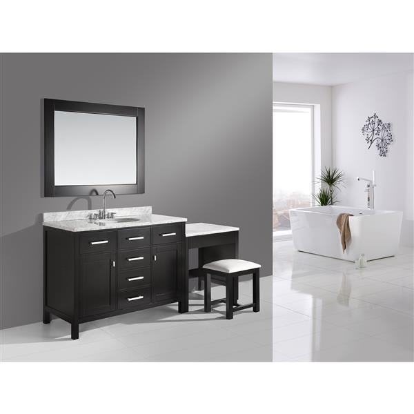 "London Vanity and Make-Up Table with Mirror - 78"" - Espresso"