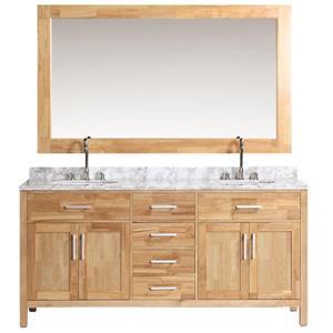 """Meuble-lavabo double avec miroir London, 72"""", miel"""