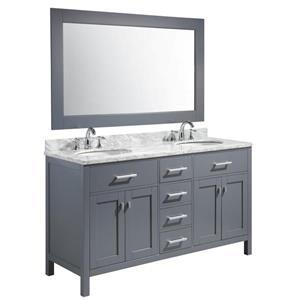 """Meuble-lavabo double avec miroir London, 61"""", gris"""