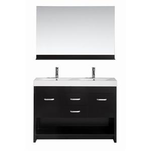 """Meuble-lavabo double avec miroir Citrus, 48"""", espresso"""