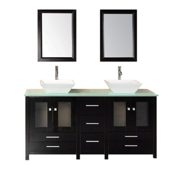 """Meuble-lavabo double avec miroir Arlington, 61"""", espresso"""