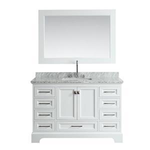 """Meuble-lavabo avec miroir Omega, 54"""", blanc"""