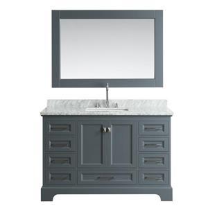 "Meuble-lavabo avec miroir Omega, 54"", gris"
