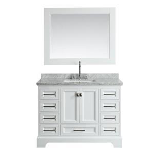 """Meuble-lavabo avec miroir Omega, 48"""", blanc"""