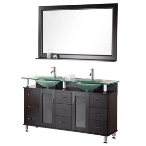 Meuble-lavabo double avec miroir Huntington, 60