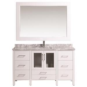 "Meuble-lavabo avec miroir Stanton, 60"", blanc"