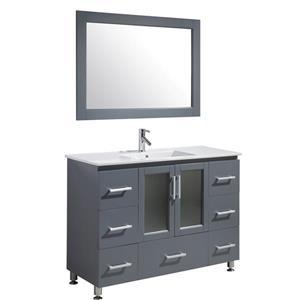 """Meuble-lavabo avec miroir Stanton, 48"""", gris"""