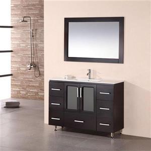 "Meuble-lavabo avec miroir Stanton, 48"", espresso"