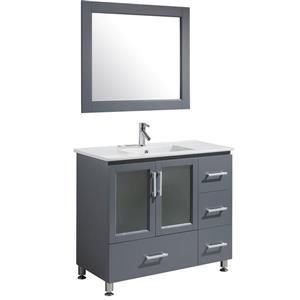 """Meuble-lavabo avec miroir Stanton, 40"""", gris"""