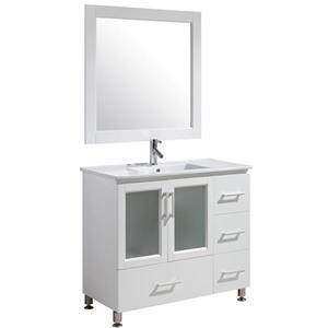 "Meuble-lavabo avec miroir Stanton, 40"", blanc"
