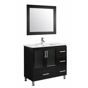 "Meuble-lavabo avec miroir Stanton, 40"", espresso"