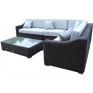 Tropicana Sectional Patio Set- Wicker - Brown/Gray