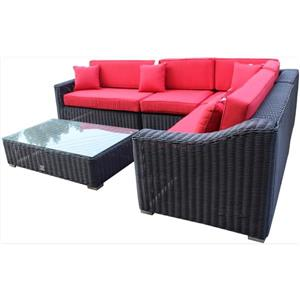 Tropicana Sectional Patio Set- Wicker - Brown/Red