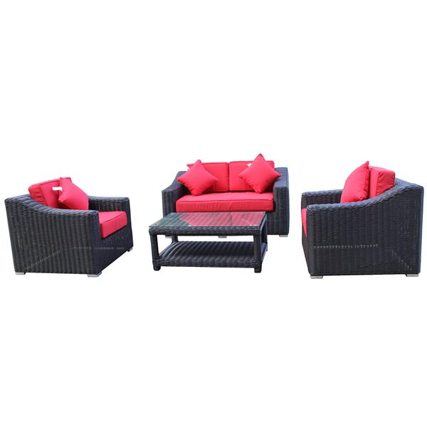 Encore Patio Set with Loveseat - Brown/Red