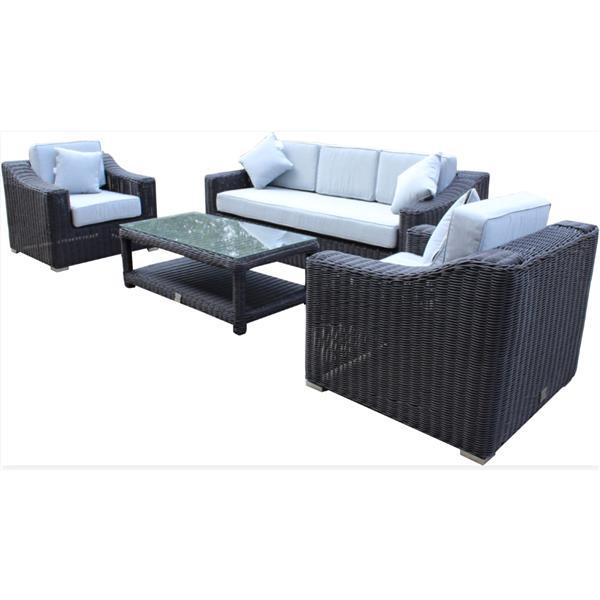 Ensemble de patio à 3 sièges Wynn, noir/gris