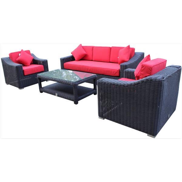 Wynn 3-Seat Conversation Set - Black/Red