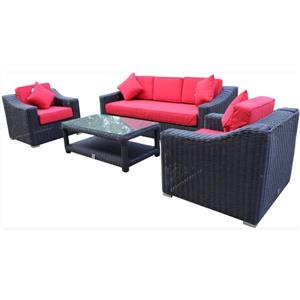 WD Patio Wynn 3-Seat Conversation Set - Black/Red