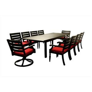 Table extensible Royalton, aluminium, brun/rouge