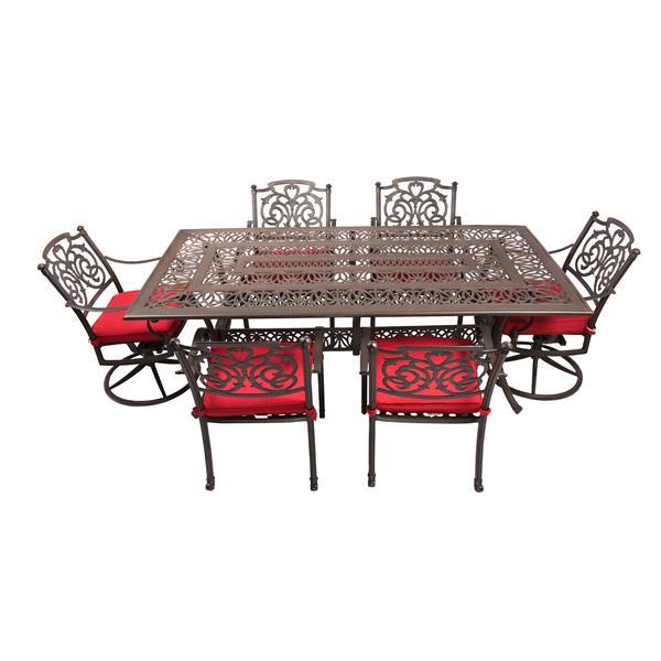 Ensemble de patio Breezes, aluminium, rouge
