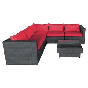 Ensemble de canapés extérieurs, rouge et noir