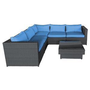 Ensemble de canapés extérieur, bleu et noir