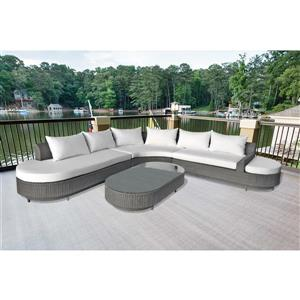 4-Piece Outdoor Sofa Set - Grey and White