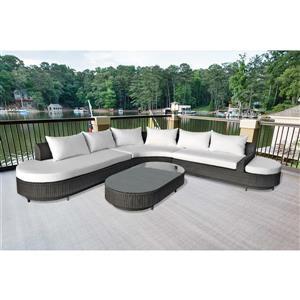 4-Piece Outdoor Sofa Set - Black and White