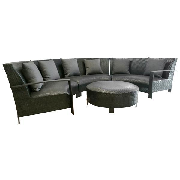 Ensemble de sofas extérieur, Noir, 5 Pièces