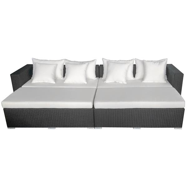 Ensemble de canapé extérieur 4 pièces, noir et blanc