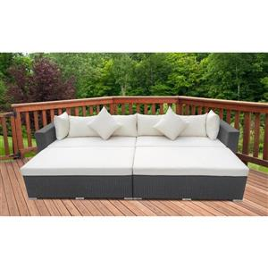 4-Piece Exterior Sofa Set - Black and White