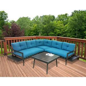 Ensemble de sofa extérieur 4 pièces, charbon et turquoise